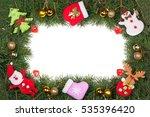 christmas frame made of fir... | Shutterstock . vector #535396420