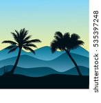 palm and hills illustration   Shutterstock .eps vector #535397248
