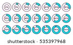 set of blue circle percentage... | Shutterstock .eps vector #535397968
