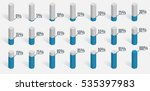 set of blue percentage charts... | Shutterstock .eps vector #535397983