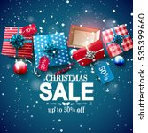 christmas sale poster with red... | Shutterstock .eps vector #535399660