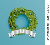 realistic wreath with silver... | Shutterstock .eps vector #535422730