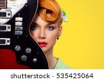 woman pinup girl with electric... | Shutterstock . vector #535425064