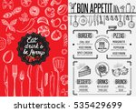 christmas restaurant menu with... | Shutterstock .eps vector #535429699