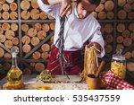 male chef making homemade pasta ... | Shutterstock . vector #535437559