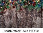 christmas fir branches with... | Shutterstock . vector #535441510