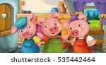 cartoon scene with pigs in the... | Shutterstock . vector #535442464