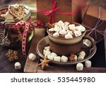 winter hot drink  cacao with... | Shutterstock . vector #535445980