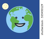 earth globe smiling. isolated... | Shutterstock . vector #535450129