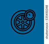 Wheel And Manometer Icon Flat...