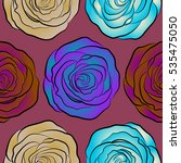 purple  beige and blue roses... | Shutterstock .eps vector #535475050