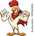Cartoon Chicken With A Red...