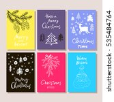 hand drawn christmas set cards. ... | Shutterstock .eps vector #535484764