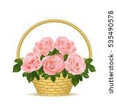 Roses In A Wicker Basket