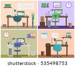 office interior. workspace or... | Shutterstock .eps vector #535498753
