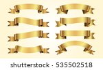 set of golden ribbons on beige... | Shutterstock .eps vector #535502518