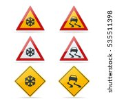 slippery road. traffic signs... | Shutterstock .eps vector #535511398