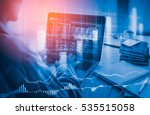 double exposure businessman and ... | Shutterstock . vector #535515058