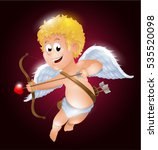 funny little cupid aiming at... | Shutterstock .eps vector #535520098