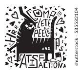 satisfaction cat lettering... | Shutterstock .eps vector #535532104
