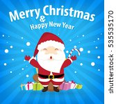 santa claus and snow theme ... | Shutterstock . vector #535535170
