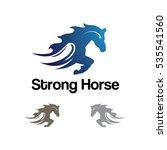 strong horse running fast logo...