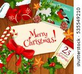 merry christmas greeting card... | Shutterstock . vector #535549210