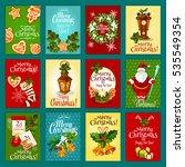 christmas winter holiday card... | Shutterstock . vector #535549354