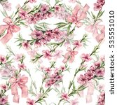 flowers peach with ribbon... | Shutterstock . vector #535551010
