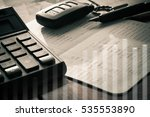 double exposure of calculator... | Shutterstock . vector #535553890