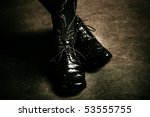 female foot in black shiny... | Shutterstock . vector #53555755