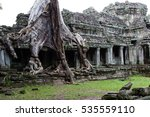 a tree growing out of ruins at...   Shutterstock . vector #535559110