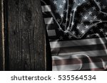 usa flag on a wood surface | Shutterstock . vector #535564534