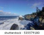Pacific Ocean Crashing Against...