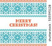 merry christmas knitted... | Shutterstock .eps vector #535595128
