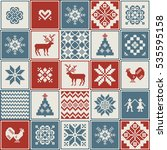christmas pattern in patchwork...   Shutterstock .eps vector #535595158
