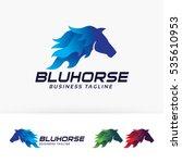 Stock vector blue horse vector logo template 535610953