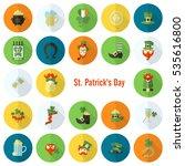 saint patricks day icon set.... | Shutterstock .eps vector #535616800