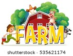 font design with word farm with ... | Shutterstock .eps vector #535621174