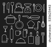 kitchen and cooking icons with... | Shutterstock .eps vector #535625443