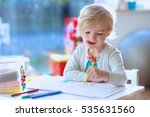 funny little left handed child... | Shutterstock . vector #535631560