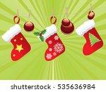 red christmas stockings hanging ... | Shutterstock .eps vector #535636984