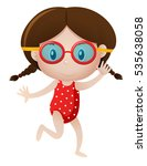 little girl wearing goggles... | Shutterstock .eps vector #535638058