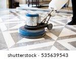 man polishing marble floor in... | Shutterstock . vector #535639543