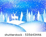 winter landscape with forest... | Shutterstock .eps vector #535643446