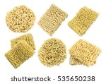 set of instant noodles close up ... | Shutterstock . vector #535650238