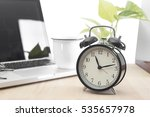 modern office desk with alarm... | Shutterstock . vector #535657978
