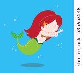 cute little mermaid girl... | Shutterstock .eps vector #535658548