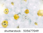 golden christmas balls on white ... | Shutterstock . vector #535677049