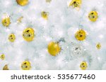 golden christmas balls on white ... | Shutterstock . vector #535677460
